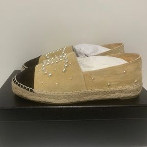 CHANEL Shoes - Chanel Pearl Embellished Suede Espadrilles